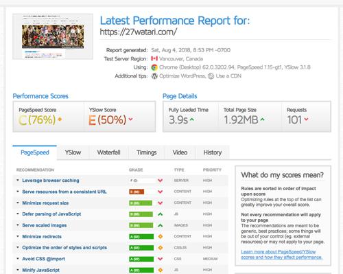 サイト表示速度測定ツール GTmetrix