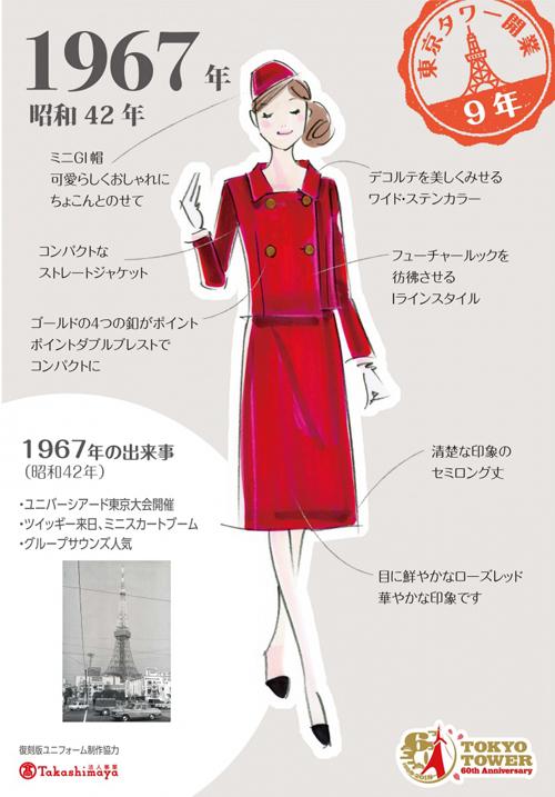 東京タワー60年! アテンダント衣装・歴代制服復刻展(12月15日~2019年1月14日開催)