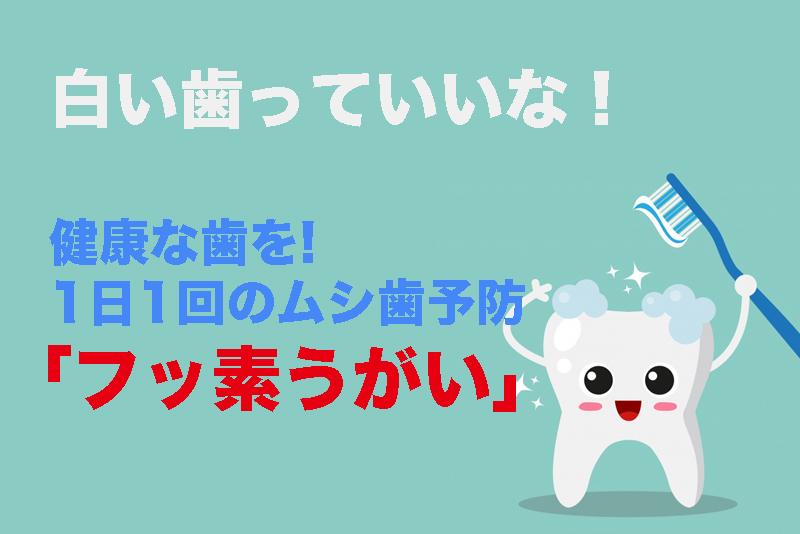 【白い歯っていいな!】健康な歯を1日1回のムシ歯予防「フッ素うがい」で