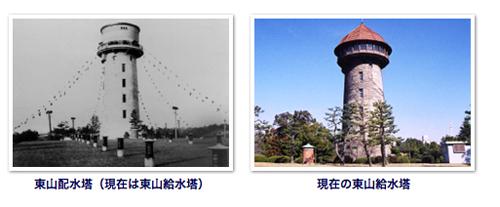 東山配水塔として竣工したのが昭和5年3月、現在の形である「キノコ型の展望スペース」が設けられたのは昭和58年5月のこと