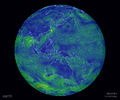 「Cameron Beccario earth」のオープンソースプロジェクト「世界風速(Earth wind map)」
