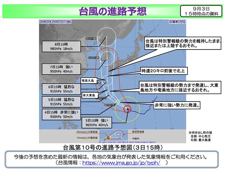 「国土交通省」9月3日発表・台風10号進路・報道資料
