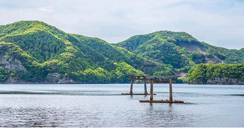 対馬の貴重な観光資源である「和多都美神社」の海中鳥居
