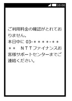 ご利用料金の確認が取れておりません。本日中に…(NTTファイナンスを装ったショートメール)   迷惑メール実例151』