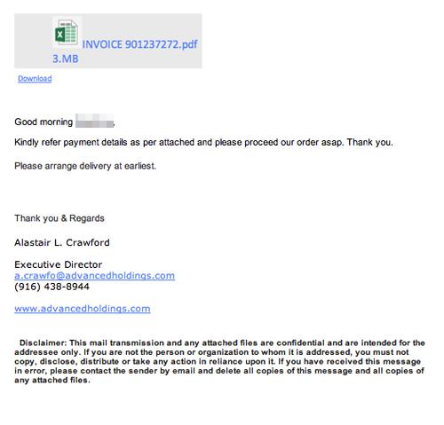 INVOICE(偽造請求書による不審な英文メール) | 迷惑メール実例181