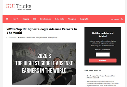 【Googleアドセンス高額所得者】2020年世界1位は誰?いくら稼いでいる?「2020's Top 10 Highest Google Adsense Earners In The World」(GUI Tricks - In Touch With Tomorrow! )