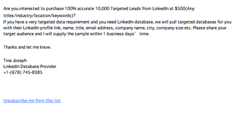 RE: 10K LinkedIn Leads at 500(LinkedIn(リンクトイン)を装った詐欺メール) | 迷惑メール実例260