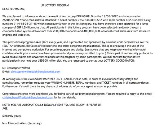 UK LOTTERY PROGRAM(英国の宝くじを装った詐欺メール) | 迷惑メール実例262